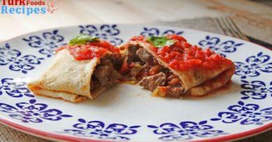 Meaty crepe / Meat Pancakes Recipe / Etli Krep Recipe