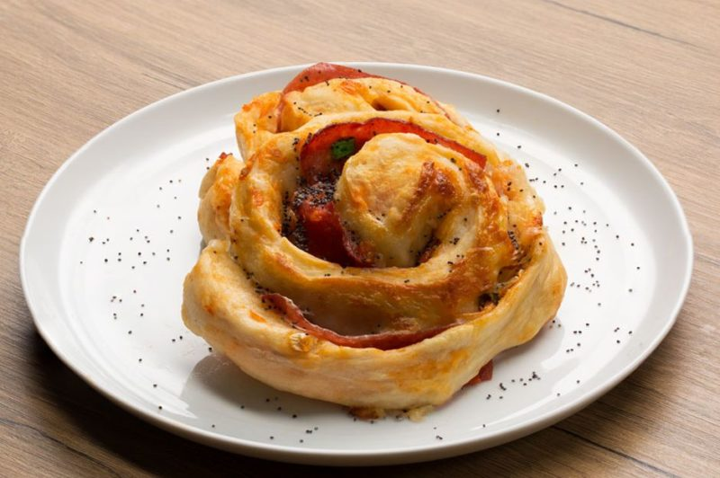 Easy Açma Recipe with Cheddar Cheese and Salami. Turkish Pastries Recipes. Turkish Recipes