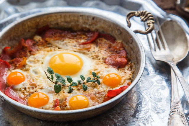 Fried egg with bacon recipe. 14 Delicious Egg Recipes. Practical  Egg Recipes for Breakfast. Turkish Breakfast.