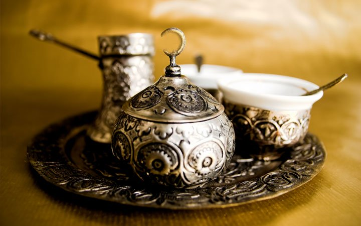 WHAT IS REQUIRED TO MAKE TURKISH COFFEE Turkish coffee set. Coffee pot and Turkish coffee cup.