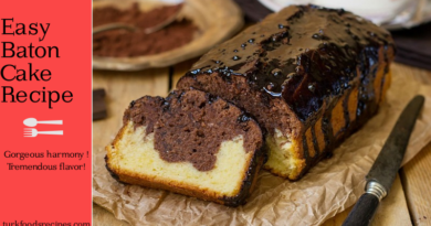 Chocolate Sauce Easy Baton Cake Recipe. Turkish Cake Recipes. Turkish Recipes.