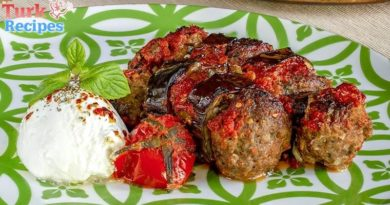 Knead the Meatballs Baked Eggplant Kebab Recipe.Turkish Kebab Recipes. Turkish Food Recipes. Turkish Recipes.