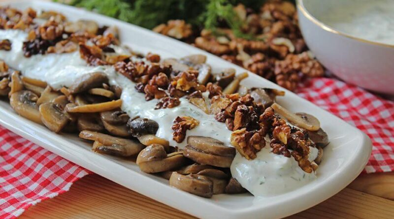 Satisfying Light Recipe Yogurt Walnut Mushroom Salad Recipe